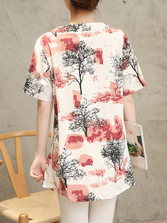Beige Red and Black Loose Plus Size Stand Collar Printed Top for Casual