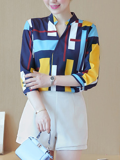Colorful Chiffon Slim Plus Size V Neck Geometric Pattern Top for Casual Office