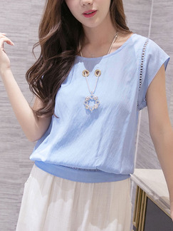 Blue Plus Size Loose Round Neck Pleated Cutout Top for Casual