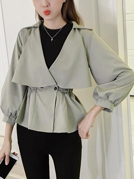 Grey Loose Lapel Pleated Lantern Sleeve A-Line Double-Breasted Top for Casual Office