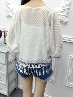 White Knitted Cardigan Loose Tassels Top for Casual