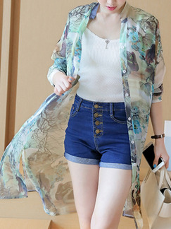 Colorful Chiffon Plus Size Shirt Printed Cardigan Furcal Top for Casual