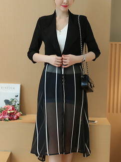 Black Lapel Cardigan Linking Stripe Top for Casual Office