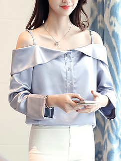 Blue Satin Slim Off-Shoulder Sling Shirt Placket Front Long Sleeve Top for Casual Office
