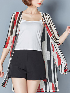 White Red and Black Mesh Plus Size Printed Cardigan Top for Casual