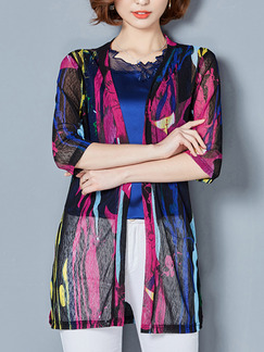 Colorful Mesh Plus Size Printed Cardigan Top for Casual