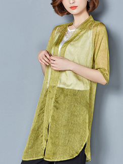 Yellow Green Chiffon Plus Size Loose Cardigan Furcal Asymmetrical Hem Top for Casual Office