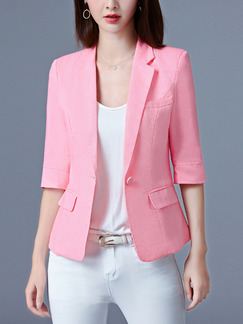 Pink Satin Plus Size Lapel Slim Cute Top for Casual Office Evening