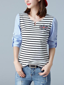 White and Blue Knitted Plus Size Stripe Contrast Linking Embroidery Top for Casual Party