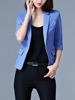 Blue Satin Plus Size Lapel Slim Cute Top for Casual Office Evening