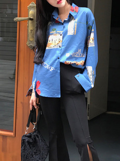 Blue Loose Shirt Printed Long Sleeve Top for Casual