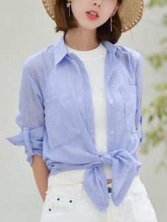 Blue Cotton Literary Shirt Pocket Long Sleeve Top for Casual
