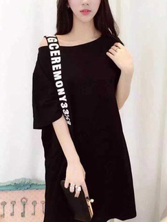 Black Knitted T Shirt Loose Off-Shoulder Printed Zipped Top for Casual