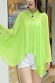 Yellow Green Chiffon Bat Shawl Stand Collar Long Sleeve Top for Casual