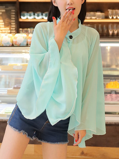 Blue Green Chiffon Bat Shawl Stand Collar Long Sleeve Top for Casual
