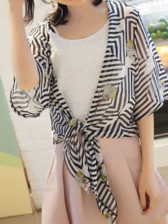 Black and White Chiffon Printed Shawl Asymmetrical Hem Top for Casual