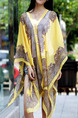 Yellow Chiffon Shawl Located Printing Multi-Wear Top for Casual