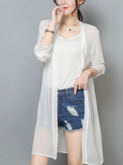 White Chiffon Cardigan Top for Casual