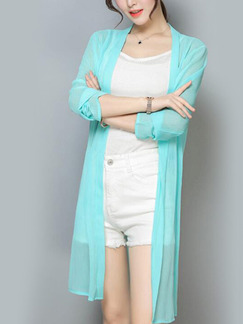 Blue Green Chiffon Cardigan Top for Casual