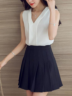 White Slim V Neck Top for Casual Office Party Evening