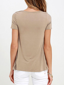 Brown Knitted Slim T Shirt Drawstring Top for Casual Party