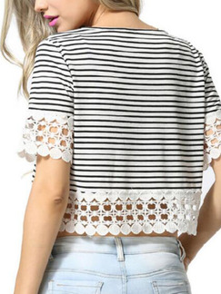White and Black Knitted Slim Stripe T Shirt Linking Lace Top for Casual Party