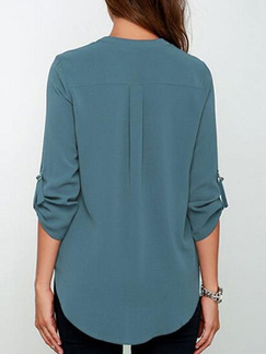 Blue Chiffon Loose V Neck Asymmetrical Hem Plus Size Top for Casual Office Evening