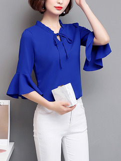 Blue Chiffon Slim Flare Sleeve Tie Ruffled Top for Casual Party Office Evening