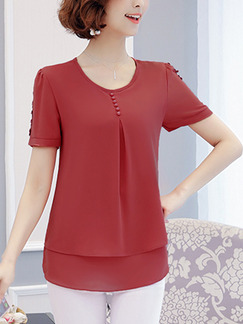 Red Chiffon Plus Size Buckled Lace Top for Casual Evening Office