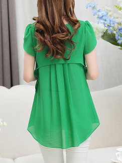 Green Chiffon Loose Two-Layered Pleated Linking Plus Size Top for Casual Office Party