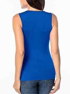 Blue and Black Chiffon Slim Contrast Linking Zipped Top for Casual Party