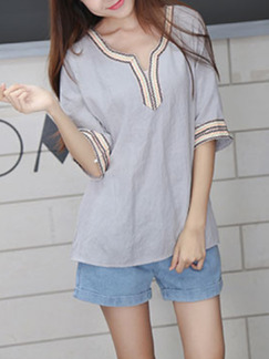 Grey Literary Loose Tie Embroidery Top for Casual