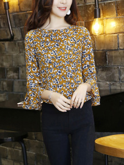 Brown Chiffon Printed Slim Boat Neck Flare Sleeve Plus Size Top for Casual Office Evening Party