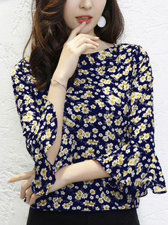 Blue Chiffon Printed Slim Boat Neck Flare Sleeve Plus Size Top for Casual Office Evening Party