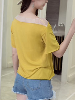 Yellow Knitted Contrast Linking Located Printing Top for Casual Party