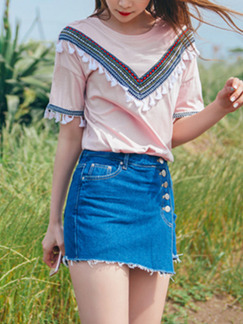 Pink Loose Literary Embroidery Tassels Top for Casual Party