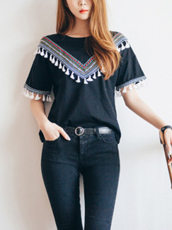 Black Loose Literary Embroidery Tassels Top for Casual Party