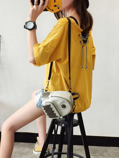 Yellow Loose V Neck Band Belt Located Printing Top for Casual