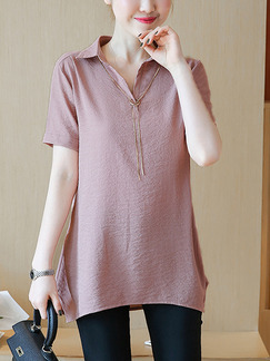 Pink Plus Size A-Line Loose Shirt Placket Front Asymmetrical Hem Top for Casual Party Office