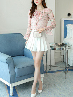 Pink Colorful Plus Size V Neck Pleated Chiffon Ruffled Band Belt Linking See-Through Printed Long Sleeve Top for Casual Office Evening