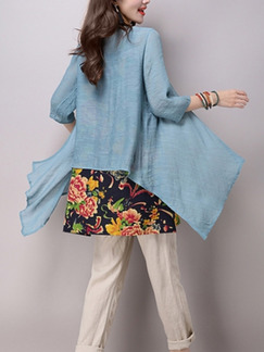 Blue Colorful Chinese Plus Size Full Skirt Loose Asymmetrical Hem Top for Casual