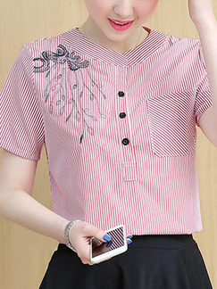 Red and White Plus Size Loose Placket Front Stripe Asymmetrical Hem Embroidery Top for Casual Office  Party