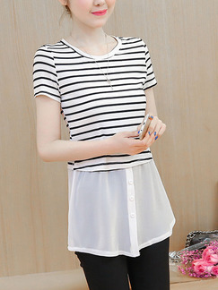 White and Black Plus Size A-Line Loose Round Neck Knitted Stripe Linking Contrast Buckled Top for Casual