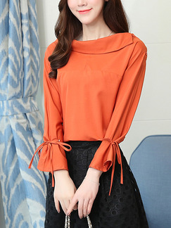 Orange Plus Size Loose Ship Collar Flare Sleeve Tie Pleated Buckled Long Sleeve Top for Casual Office Evening