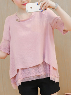 Pink Plus Size Loose Round Neck Chiffon Lace Pleated Linking Two-Layered   Top for Casual Party Office