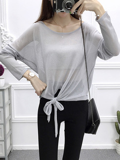 Grey Knitting Loose See-Through Sun Protection Lace Up Boat Neck Top for Casual Office