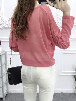 Pink Knitting Loose See-Through Sun Protection Lace Up Boat Neck Top for Casual Office