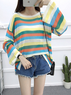 Colorful Knitting Loose Sun Protection Boat Neck Contrast Stripe Flare Sleeve Top for Casual Party Office