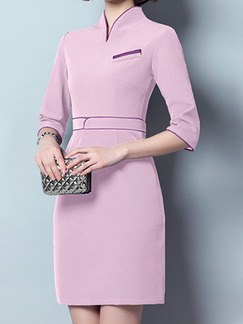 Pink Plus Size Contrast Slim A-Line V Neck Pockets Dress for Casual Office