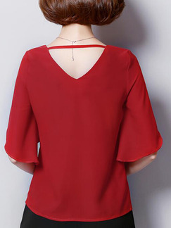 Red Plus Size Loose V Neck Ruffled Off-Shoulder Back Top for Casual